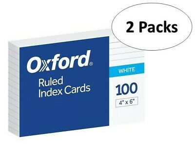Oxford 41 4 X 6 Ruled Index Cards - White 100pack 2 Pack