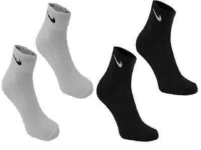 Pair Nike Quarter Sports Socks Mens Womens White Black Grey