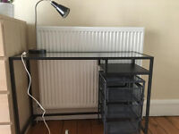 Grey desk with matching 3 drawer unit and table lamp - excellent condition. Hardly used.