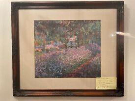 Claude Monet Print-In Stunning Ornate Handmade Frame-Iris's in a Monet Garden