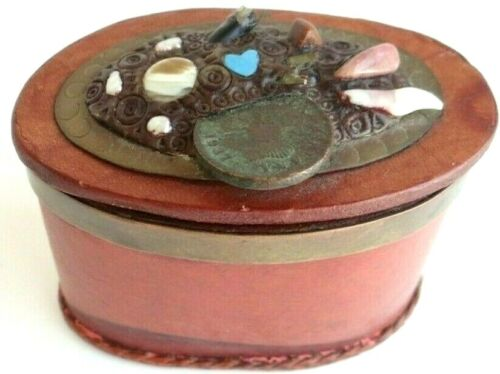 Unique oval handmade leather / mixed materials Trinket Box