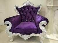 Crushed Velvet French Sofa Armchair - Purple with Diamante Studs - 1 Seater