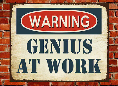 METAL VINTAGE GENIUS AT WORK MAN CAVE OFFICE SIGN GIFT BROTHER DAD CHRISTMAS
