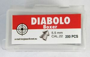 200 PCS BOXER Diabolo Airgun AirRifle pellets Cal.22 5,5mm Pointed Pellets - <span itemprop='availableAtOrFrom'>Pruszków, Polska</span> - 200 PCS BOXER Diabolo Airgun AirRifle pellets Cal.22 5,5mm Pointed Pellets - Pruszków, Polska