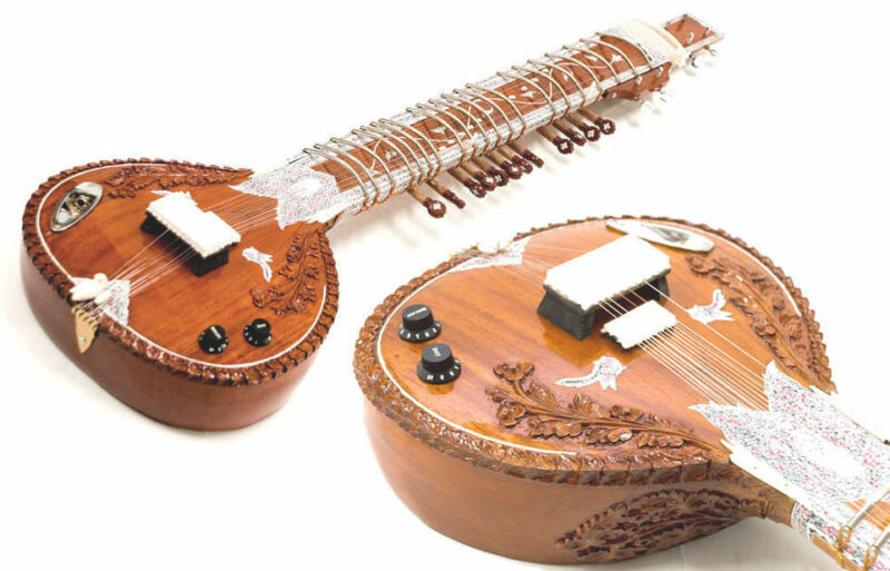 LEFT HANDED ACOUSTIC-ELECTRIC SITAR w VOL & TONE CONTROLS & SPARE STRING SET