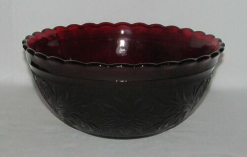 Anchor Hocking Glass Co. SANDWICH Ruby Red Large Scalloped Deep Bowl