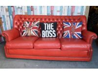 Stunning Chesterfield Striking Red Leather Monk Back 3 Seater Sofa - UK Delivery