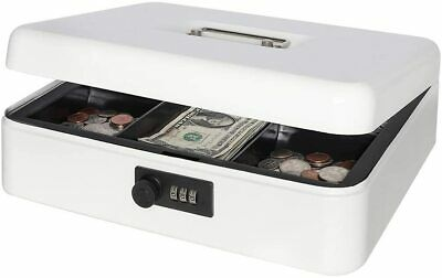 Metal Cash Box Safe Storage Money Coins Case Tray Combination Lock Large White