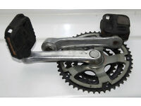 Shimano bicycle triple crankset and pedals, 170mm cranks, for square taper spindle, 28/38/48T