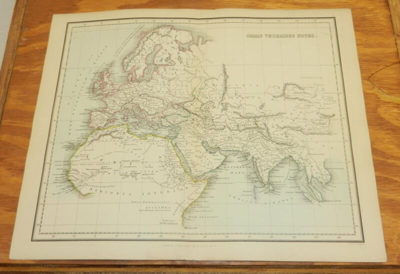 1853 Antique COLOR Map/WORLD AS KNOWN TO THE ANCIENTS/Findlay