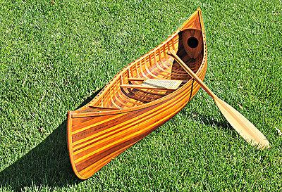 Large Display Cedar Strip Built Canoe 10' Wooden Model Boat Flat Matte Finish