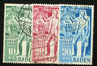 Französische Zone Baden Nr. 50-52 gestempelt