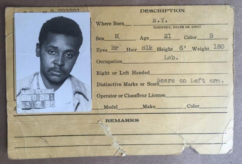 Original 1956 Nypd Mug Shot Photo Grand Larceny 103Rd Pct Queens 93020 Police Ny