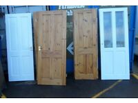 Job Lot of 8 Solid Pine 4 Panel Internal Doors included 2 Glazed Ones - Possible Delivery