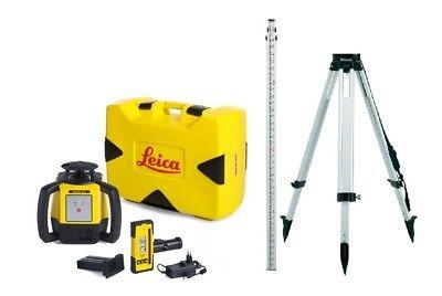 Rotating Laser Leica Rugby 610 W Rod Eye 120 Li-ion Aluminum Tripod Rod