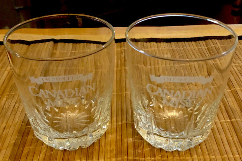 Canadian Mist Rocks or Low Ball Glasses Etched Barware Set Of Two (2)
