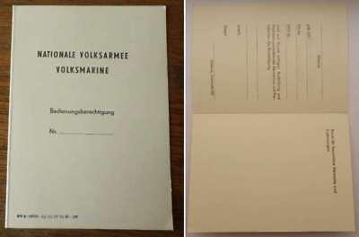 DDR NVA Volksmarine - Ausweis / Urkunde : Bedienungsberechtigung blanko unbenutz