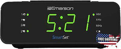 Emerson SmartSet Alarm Clock Radio with AM/FM Radio, Dimmer, Sleep Timer New