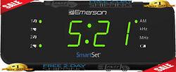 Emerson SmartSet Alarm Clock Radio with AM/FM Radio, Dimmer, Sleep Time - NEW