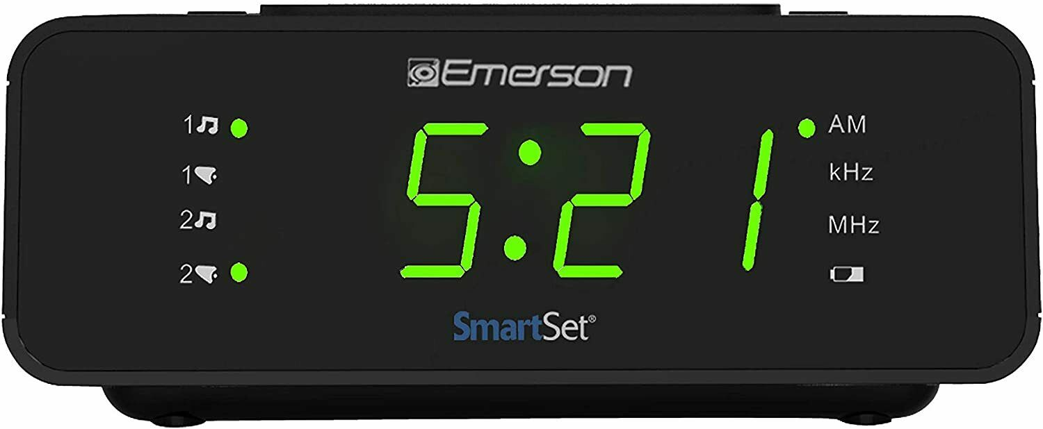 "Emerson SmartSet Digital Alarm Clock Radio w/AM/FM,0.9"" LED"