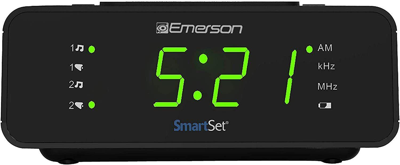 """Emerson SmartSet Digital Alarm Clock Radio w/AM/FM,0.9"""" LED"""