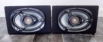 Pair of speaker cabinets and speakers Kenwood M6925ie 250W