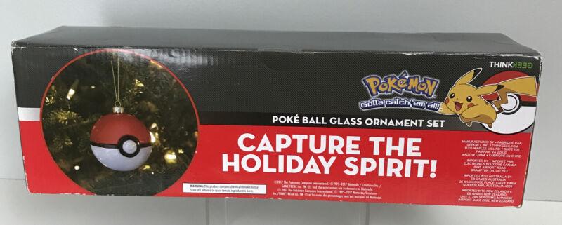 ThinkGeek Pokemon Poke Ball Glass Ornament Set of 4 New in Box