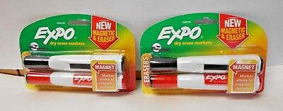 Lot Of 2 Expo Dry Erase Markers 2 Count Red And Black With Magnets N608