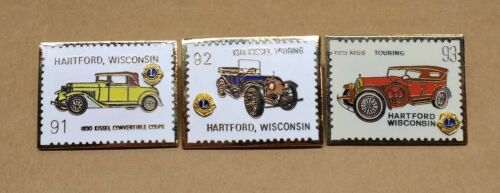 Kissel Touring Cars & Convertible 1991-92-93 Hartford WI Lions Club Pins LOT