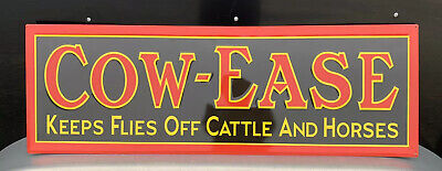 Cow-Ease Metal Sign Cattle Horses Farm Vintage Style Wall Decor Tools Bar