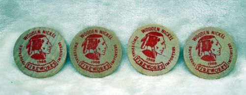 Lot of 4 Universal Fireworks Importers Company Wooden Nickels***