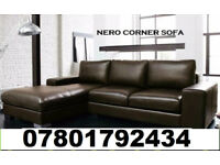 SOFA BRAND NEW NERO SOFA ITALIAN LEATHER AVAILABLE CORNER FAST DELIVERY 376