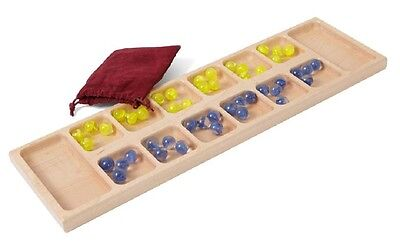 MANCALA GAME BOARD - Amish Handmade Solid Maple with Marbles and Storage Pouch (Mancala Marble Game)