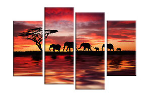 ELEPHANTS COLORFUL SUNSET ON WATER CANVAS PICTURE WALL ART MULTI  4 PANEL 40