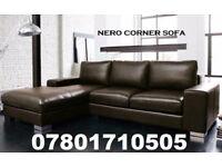 SOFA SALE LAST FEW DAYS ITALIAN NERO LEATHER CORNER SOFA BLACK OR BROWN 90543