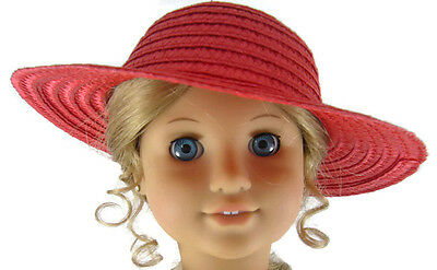 "Doll Clothes fits 18"" American Girl Patriotic Red Straw Sun"
