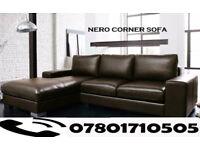 SOFA LAST FEW DAYS ITALIAN NERO LEATHER CORNER SOFA BLACK OR BROWN 8450