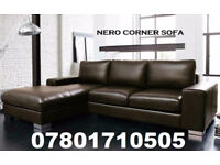 SOFA LAST FEW DAYS ITALIAN NERO LEATHER CORNER SOFA BLACK OR BROWN 63