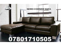 SOFA LAST FEW DAYS ITALIAN NERO LEATHER CORNER SOFA BLACK OR BROWN 941