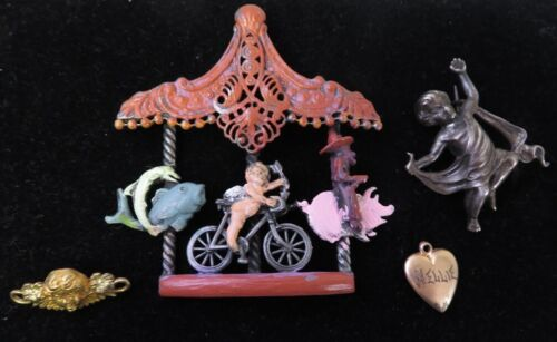 VICTORIAN AND VINTAGE PINS LOT CUPID VALENTINES DAY