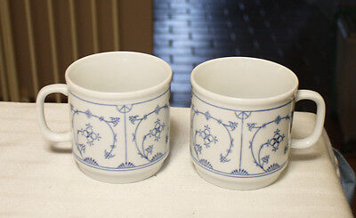 Vintage Rare 2 Mugs Kahla Blau Saks Germany Blue Pattern