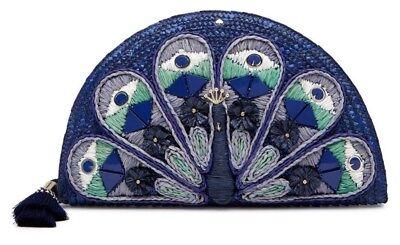 $328 NWT kate spade new york full flume straw peacock clutch handbag