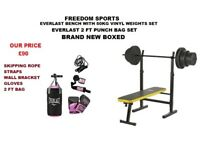 EVERLAST BENCH WITH 5OKG AND 2FT PUNCH BAG BRAND NEW BOXED