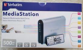 Verbatim 500GB MediaStation Network LAN Media Video/Music Streamer XviD MPG MP3