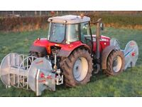 Tractor mounted Front and back slurry reeling systems, umbilical system