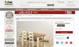 Country Cottage NaturalOak and Painted DiningSet - 5ft Table with 4 Scroll Back Brown Leather Chairs