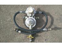 Dual propane bottle changeover regulator burger van calor gas