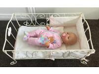Baby Anabelle play toy dolls cot with bedding