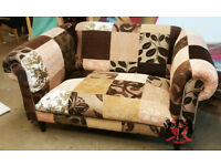 Brown 2 Seat Patchwork Chesterfield Sofa | Brand New