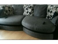 Corner black and grey snuggle sofa
